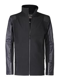 Bluza wykonana z czarnego softshellu z wstawkami z nylonu =, tkaniny przeciwdeszczowej i wypustką oraz tkaniną odblaskową szwajcarskiego producenta schoeller. oddychająca, wiatroodporna, nadruki przy zamkach