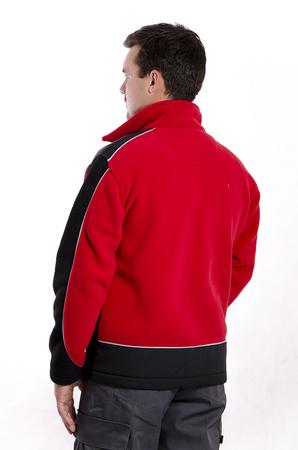 Bluza męska z polaru z karczkiem  - polar THERMO PILE 355g/m2 - na ramionach wstawki z tkaniny CORDURA - zapinana na zamek błyskawiczny - wypustka odblaskowa - na okres wiosna/jesień - kolor: czerwony/czarny