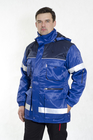 kurtka ocieplana dla robotnika, pracownika, robocza, z taśmami odblaskowymi odblaskowa niebieska olejoodporna