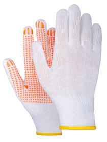 rękawice robocze z dzianiny nakrapiane fluo pomarańczowe