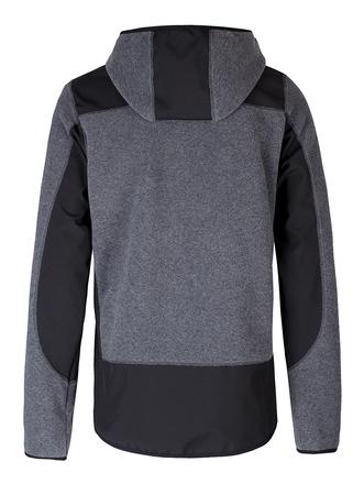 bluza z polaru, z softshellem, najlepsza jakość, szary z czarnymi dodatkami i kieszonką na piersi wewnętrzną i zewnętrzną, wykończona tasiemką elastyczną, warstwa antypeelingowa, polar dzianina thermopile 200 300 przedłużany tył, softshell przeciwdeszczow