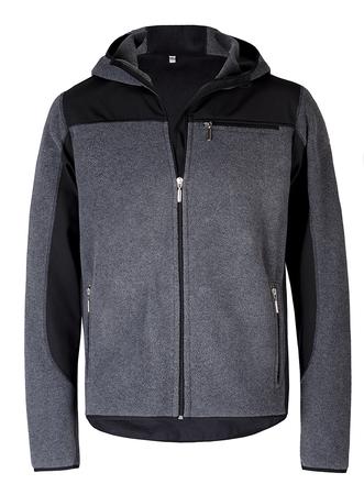 bluza z polaru, z softshellem, najlepsza jakość, szary z czarnymi dodatkami i kieszonką na piersi wewnętrzną i zewnętrzną, wykończona tasiemką elastyczną, warstwa antypeelingowa, polar dzianina thermopile 200 300