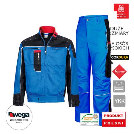 komplet hurtowe ilości do pracy tanio, promocja sklep on line, ubrania dla pracowników ładne, inne niebieskie z cordurą, kombinezon jak na zawodach formuła 1
